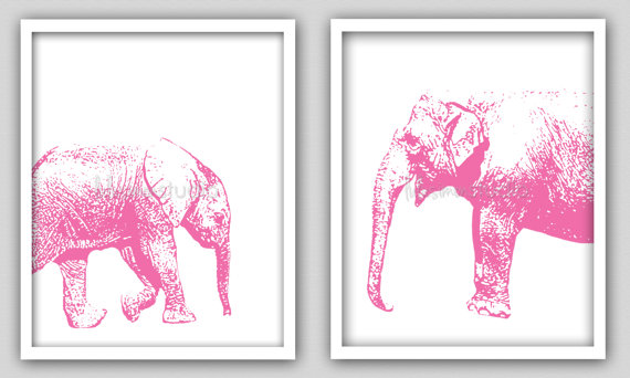 pink mom and baby elephant