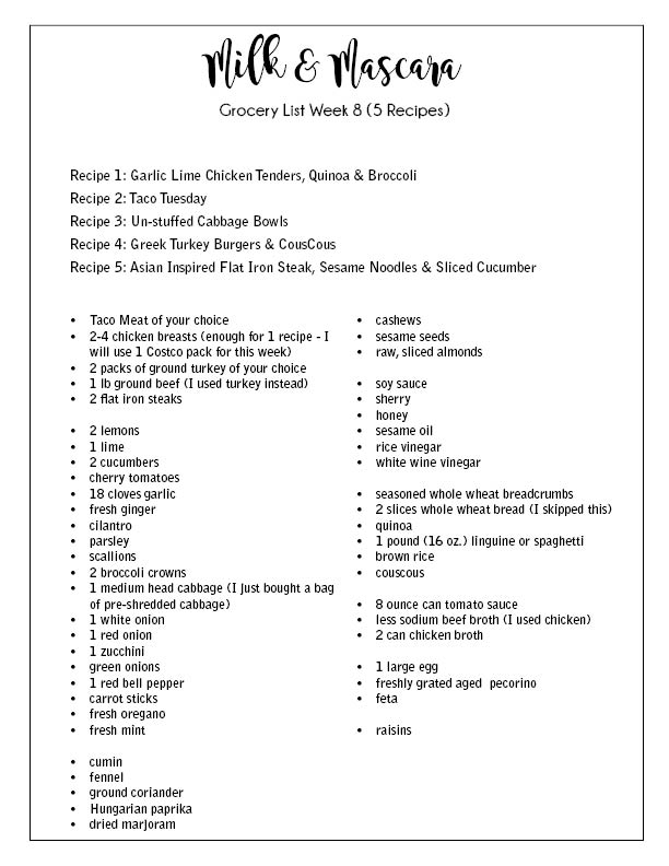 Week 8 Grocery List