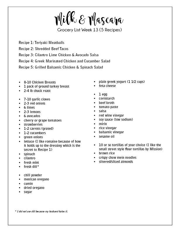 Week 13 Grocery List